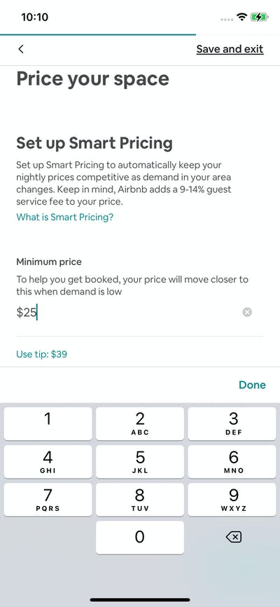 Pricing screenshot