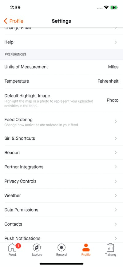 Settings screenshot