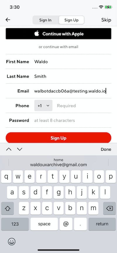 Signups screenshot