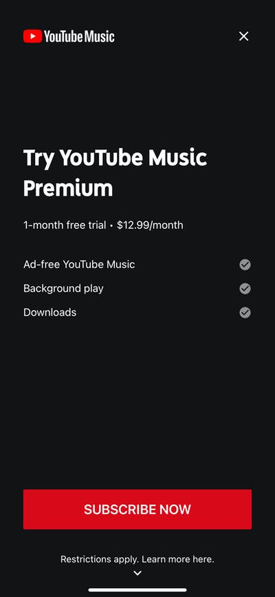 Subscription screenshot