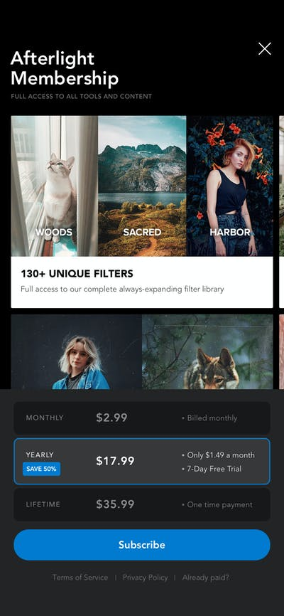 Subscription screenshot