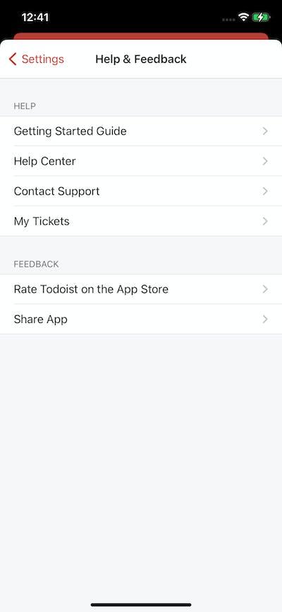 Help & Feedback screenshot
